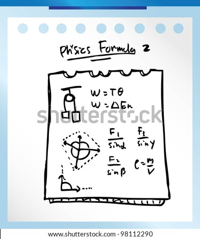 physic formula hand drawn vector illustration doodle - stock vector
