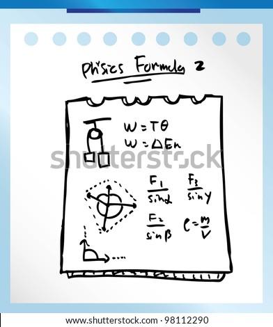 physic formula hand drawn vector illustration doodle