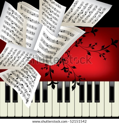 Piano vector background with notes