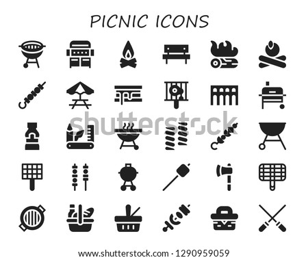 picnic icon set. 30 filled picnic icons. Simple modern icons about  - Bbq, Grill, Campfire, Picnic, Skewer, Picnic table, Smore, Segovia, Mustard, Swiss army knife, Barbecue