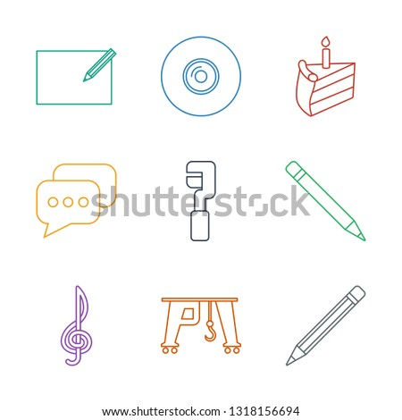 9 pictograph icons. Trendy pictograph icons white background. Included line icons such as pencil, cargo crane, treble clef, pen, clamp, message. pictograph icon for web and mobile.