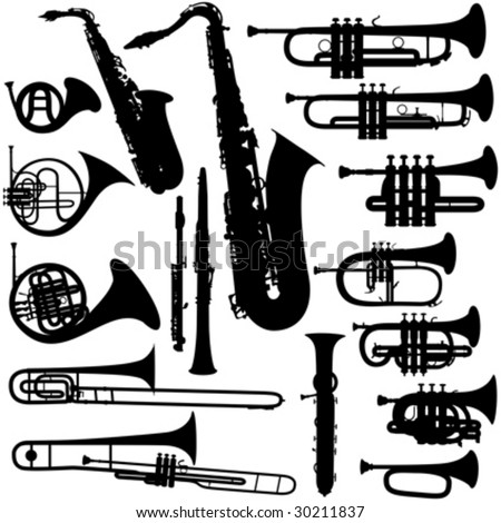 17 pieces of detailed vectoral brass instrument silhouettes.