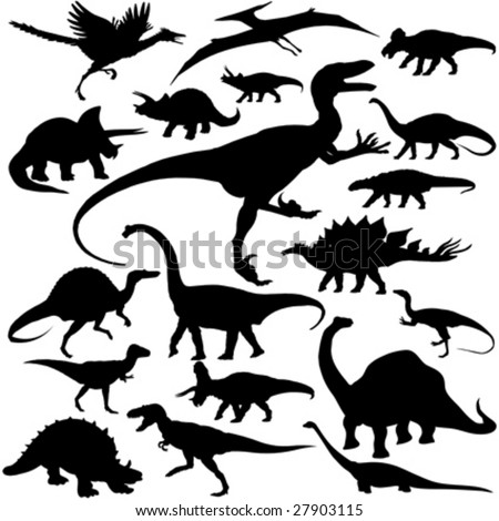 19 pieces of detailed vectoral dinosaur silhouettes.