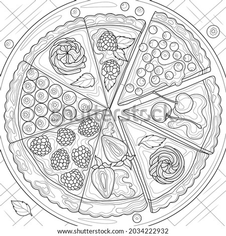 Pieces of tart with berries.Coloring book antistress for children and adults. Illustration isolated on white background.Zen-tangle style. Hand draw