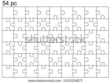 54 pieces puzzle template.  Each piece singly.