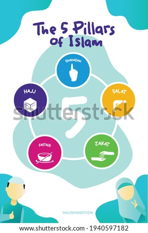 5 pillars of islam. kids poster moslem. moslem poster ramadan