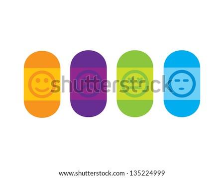 4 pills representing  happy