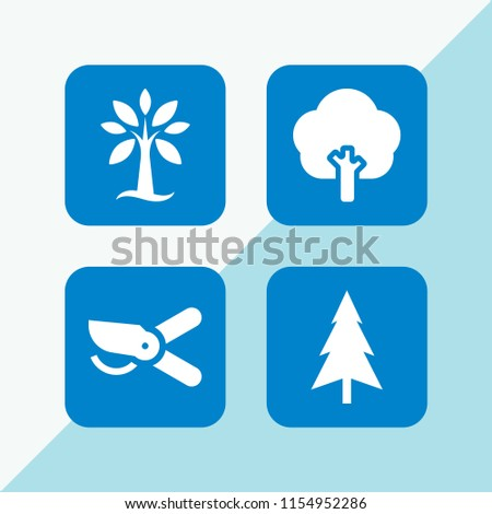 4 pine icons in vector set