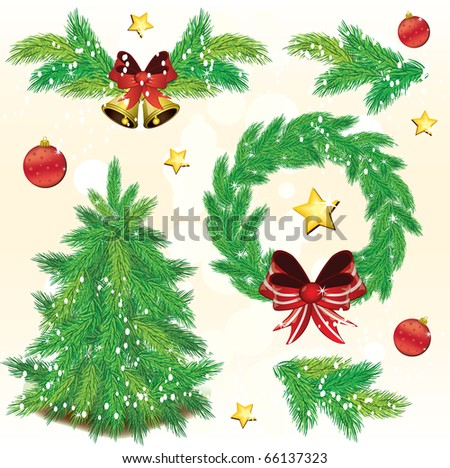 Pine tree Christmas design elements, vector