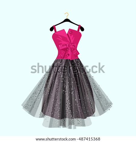 pink and dark party dress with
