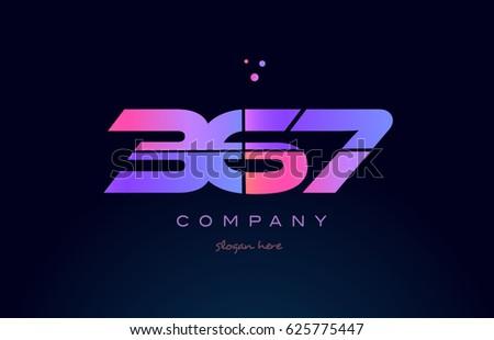 367 pink blue purple number