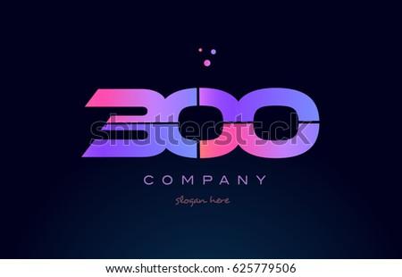 300 pink blue purple number