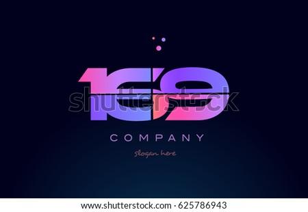 169 pink blue purple number
