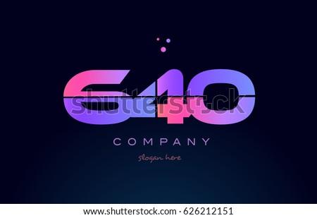 640 pink blue purple number