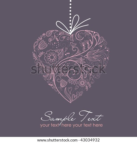 Pink Heart on Grey Background