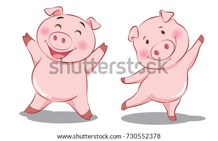 2 pink pigs are happy   smile