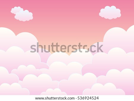 pink sky with clouds cartoon