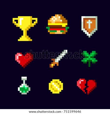 pixel art game icon set design