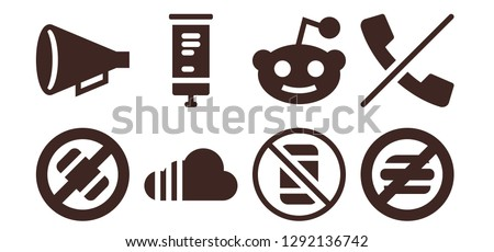 placard icon set. 8 filled placard icons. Simple modern icons about  - No phone, Protest, Soundcloud, Roll up, Reddit, No food, No calls