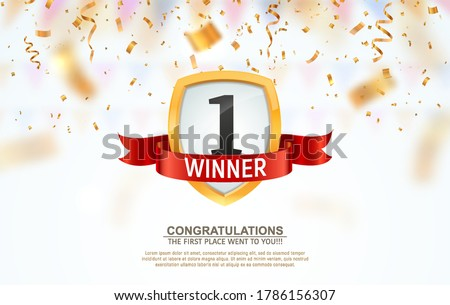 1 place competition vector illustration. Winner first number on a gold shield with red ribbon badge on falling down confetti background