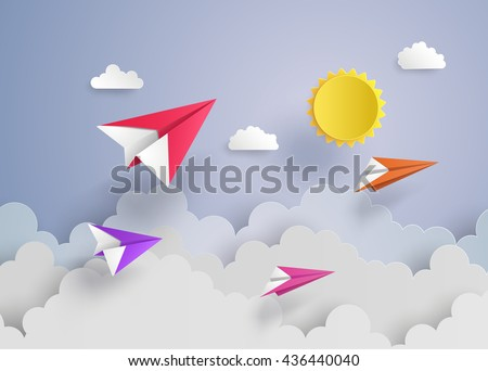 plane on blue sky with cloud.paper art and  digital craft style