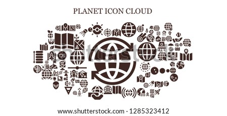 planet icon set. 93 filled planet icons. Simple modern icons about  - World, Map, Solar system, Worldwide, Globe, Planet earth, Global warming, Green energy, Sputnik, Spaceship