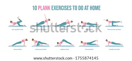 10 Plank exercises set to do at home. Woman doing exercises doing Plank. The plank is an excellent abdominal and core exercise.  Isolated vector illustration in cartoon style