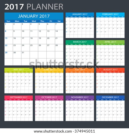 Monthly Calendar January 2018 Download Free Vector Art Stock