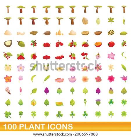 100 plant icons set cartoon