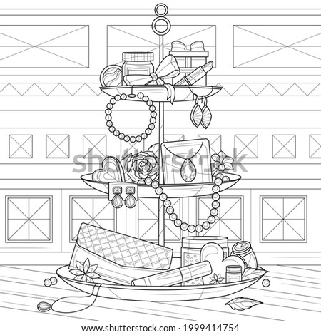 Plate with decorations and jewels.Coloring book antistress for children and adults. Illustration isolated on white background.Zen-tangle style. Black and white drawing