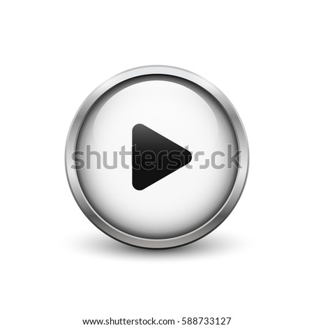 'Play' white button with metal frame and shadow #588733127