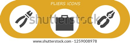 pliers icon set. 3 filled pliers icons. Simple modern icons about  - Pliers, Toolbox