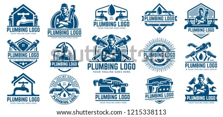 15 Plumbing logo template pack, with retro or vintage style, easy to customize ストックフォト ©