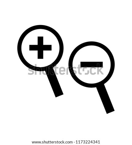 Plus and minus sign in a magnifying glass, zoom photo