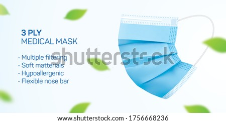 3 ply disposable mask vector flyer design with copy space. Blue medical face mask with green leaves flying in the air. Corona virus disease and pollution protective surgical mask concept background.