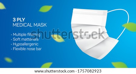 3 ply disposable mask vector flyer design with copy space. White medical face mask with green leaves flying in the air. Corona virus disease and pollution protective surgical mask concept background.