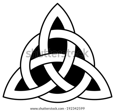 3 point Celtic Triquetra (Trinity) knot interlaced with a circle. Vector illustration.