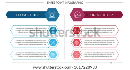 3 Point Infographic - Product Compare, Process Compare Foto stock ©