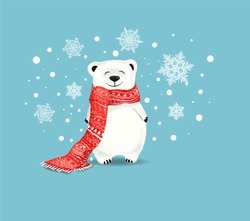 polar bear with red scarf.Vector cute cartoon charcter.White bear on blue  backgroun with snowflakes.Chrismas concept.Perfect for christmas and NewYear greeting card