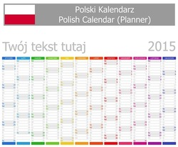 2015 Polish Planner Calendar with Vertical Months on white background