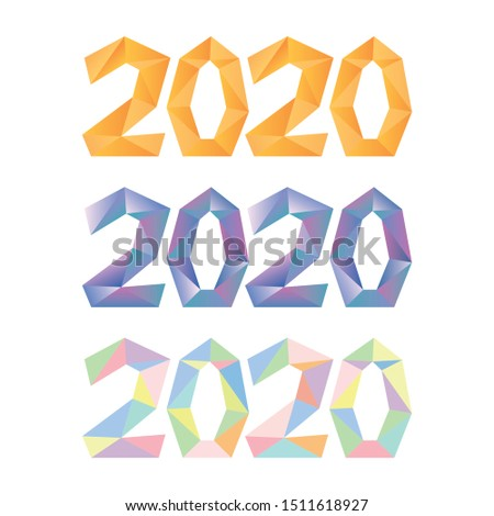 2020. 2020 polygonal drawn color numbers logo. 2020 Happy New Year vector illustrations set. Part of set.