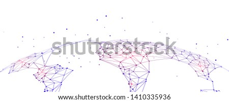 Polygonal mesh composed of earth, abstract concept earth graphic,meaning internet big data, cloud computing