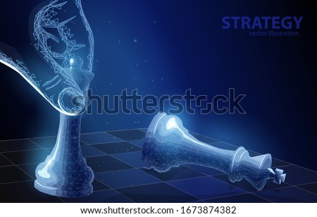 Polygonal vector illustration concept of a chess,  checkmate, on a dark blue background. Symbol of victory strategy, in business or sport.