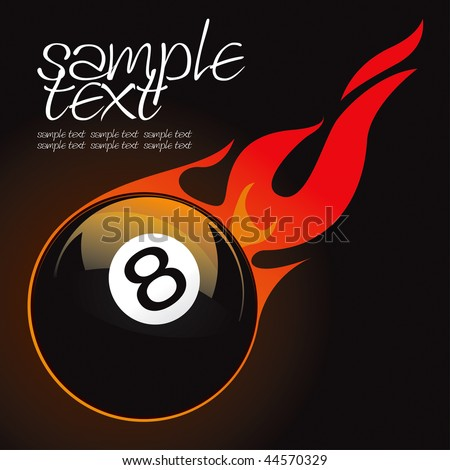 8 pool fire ball vector drawing