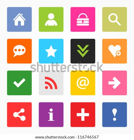 16 popular colors icon with basic sign. Simple rounded square shape internet button on gray background. Contemporary modern simple style. This vector illustration web design elements saved 8 eps