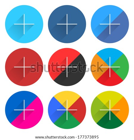 Buy and Sell Stock Vector illustration: Popular social network web icon set with plus adding sign in flat style