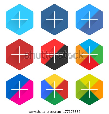 Buy and Sell Stock Vector illustration: Hexagon button popular social network web icon set with plus adding sign in flat style
