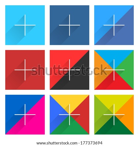 Buy and Sell Stock Vector illustration: Square button popular social network web icon set with plus adding sign in flat style