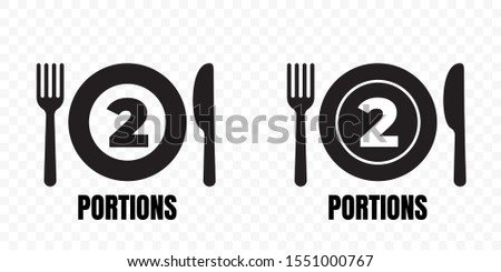 2 portions, food meal package vector icons. Plate with fork and knife label for two portions food recommendation sign Stock photo ©