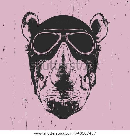 Portrait of Rhinoceros with vintage helmet, hand-drawn illustration, vector